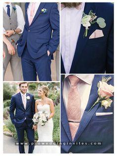 Blue Wedding Suit Groom, Blue Groomsmen Suits, Navy Blue Tuxedos, Navy Groom, Blush Groomsmen, Tuxedo Wedding, Navy Blush Weddings, Blue And Blush Wedding, Blush Wedding Colors