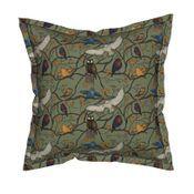 Serama Throw Pillow featuring Snowy Owls Sparrows on mossy green by Salzanos by salzanos