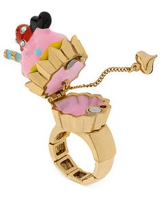 Betsey Johnson Ring, Antique Gold-Tone Pink Cupcake Stretch Ring - Fashion Jewelry - Jewelry & Watches - Macy's