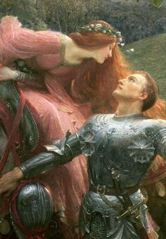 La Belle Dame Sans Merci (detail), Frank Dicksee, 1901 - Art World Frank Dicksee, Renaissance Paintings, Renaissance Art, Victorian Paintings, Victorian Art, Art Et Illustration, Illustrations, Art Ancien, Old Paintings