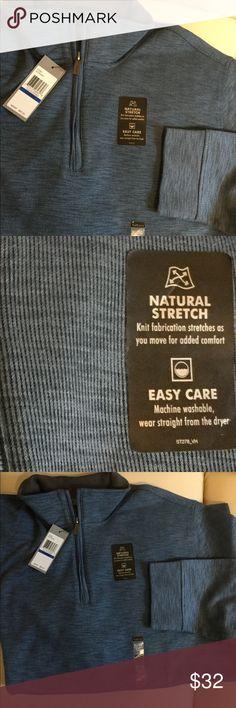 Blue Heathered  halfzip pullover top by Van Heusen Men's half zip pullover top by Van Heusen. Blue. 80% cotton. 20% polyester. Retails $60. Van Heusen Shirts