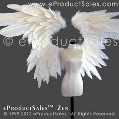 eProductSales Original White ZEN BJD Feather Angel Wings designed for Ball-Jointed Dolls