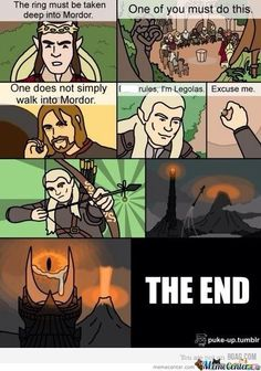 Lord of the Rings...the quick version!! LOLOLOL HAHAHHAHA LOVE THISSSS!! #lotr #LOTR #legolas #fellowship #LordOfTheRings #funny #meme #hobbit