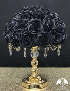BLACK ROSE ARRANGEMENT. Wedding Centerpiece Arrangement. Black Centerpiece. Black Wedding. Pick Rose Color!! 14 SIZE PICTURED With BLACK ROSES. Silver and Gold Crystal Stands Sold Separately.  These beautiful roses have a real feel and look to them. Why spend thousands on real roses that are thrown Cream Roses, Blush Roses, Purple Roses, Black Centerpieces, Wedding Centerpieces, Wedding Decorations, Christmas Decorations, Mauve Wedding, Bling Wedding