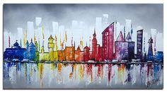 Een leuk skyline schilderij Den Haag, met enkele kenmerkende gebouwen. Kan uw interieur wel wat kleur gebruiken dan is dit schilderij een goede keuze! Eigenschappen: » Volledig handgeschilderd …