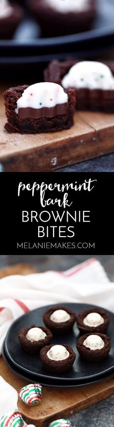 These one bowl Peppermint Bark Brownie Bites are an easy holiday inspired sweet that take just 15 minutes to prepare. Peppermint bark candies stud these deliciously fudgy, one bite chocolate brownie treats. Best Dessert Recipes, Easy Desserts, Holiday Recipes, Delicious Desserts, Christmas Recipes, Yummy Food, Tasty, Dessert Bread, Dessert Bars