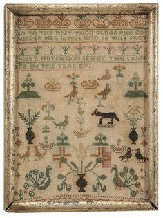 MARY HUTCHINSON SEWED THIS SAMPLER IN THE YEAR 1791