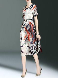 Multicolor Resort A-line Polyester Midi Dress