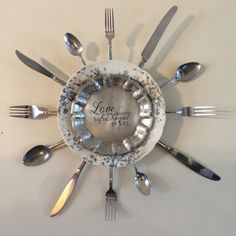 My first wall art. Vintage China, pewter plate, flatware, and sentiment.
