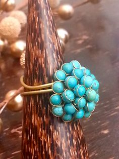 Flexi Turquoise & Golden Ring by RaDree on Etsy, £8.80
