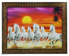 Paintings & Posters Framed Vaastu Seven Horse Painting  *Material* Wood & Plastic 