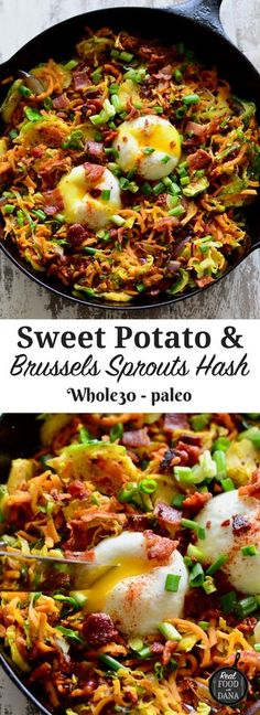 Sweet Potato & Brussels Sprouts Hash with Bacon . - Sweet Potato & Brussels Sprouts Hash with Bacon Sweet Potato & Bru - Whole Foods, Whole 30 Diet, Paleo Whole 30, Whole 30 Vegetarian, Whole 30 Meals, Whole Food Diet, Whole 30 Breakfast, Paleo Breakfast, Breakfast Recipes