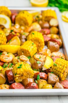 Sheet Pan Shrimp Boil: A delicious shrimp boil recipe that anyone can make. This low country style shrimp boil is perfect for a weeknight dinner or a weekend party. The post Sheet Pan Shrimp Boil appe Best Shrimp Recipes, Seafood Recipes, Cooking Recipes, Cajun Shrimp Boil Recipe, Recipes Dinner, Shrimp Boil In Oven, Shrimp Bake, Cajun Boil, Fish Boil