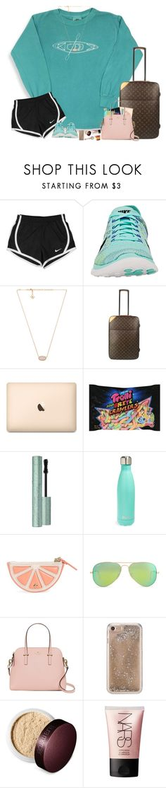 """""""✈️"""" by hopemarlee ❤ liked on Polyvore featuring NIKE, Kendra Scott, Louis Vuitton, Too Faced Cosmetics, S'well, Kate Spade, Ray-Ban, Agent 18, Laura Mercier and NARS Cosmetics"""