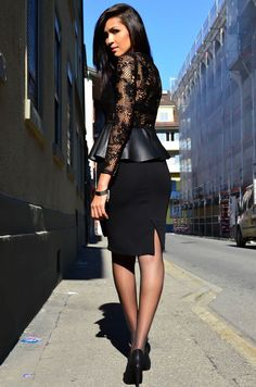 Woman wears black pencil skirt, sheer lace blouse with faux leather peplum and black pumps.. DIY the look yourself: http://mjtrends.com/pins.php?name=faux-leather-material-for-peplum