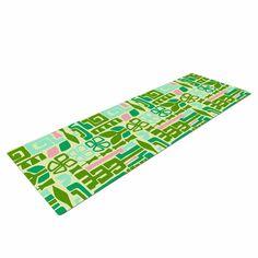 "Amy Reber ""Maze"" Green Vector Yoga Mat"