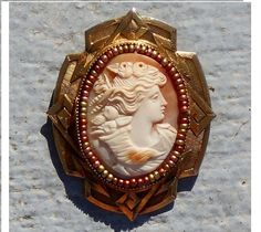 Antique Victorian Hand Carved Pomona, Very Rare, Shell Cameo of Roman Goddess of…