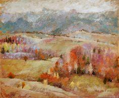 Купить Картина Песенка про осень (оливковый, серый, рыжий, осенний пейзаж)