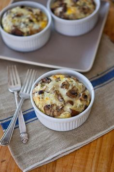 Recipe: Mixed Mushroom Egg Bakes — But First, Breakfast! :: author says they'll keep for the week in the fridge so make a batch Monday for easy breakfasting.