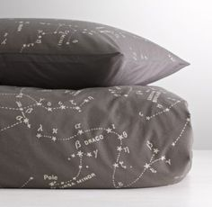 RH Baby & Child's Night Sky Sham:Depicting a stylized map of the night sky, our soft cotton duvet cover and sham introduce young astronomers to the mystery and lore of the 88 known constellations. My New Room, My Room, Restoration Hardware Baby, Baby Boy Rooms, Kids Rooms, Kid Spaces, Bedding Collections, Night Skies, Bean Bag Chair