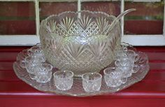Vintage Glass Punch Bowl 22 inch Torte Plate 12 by PanchosPorch, $65.00