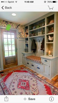 Cabinet storage for mudroom.