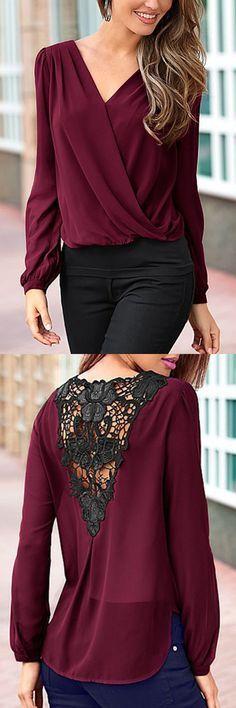 Burgundy Ladies Style V-neck Lace T-shirt