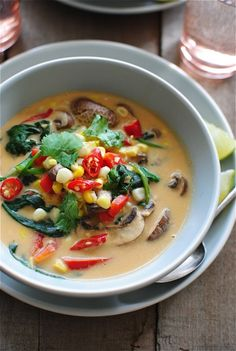 Thai Coconut Corn and Mushroom Soup / Bev Cooks >> ok. I'm probably the only one who would eat this, we'll maybe my vegetarian friend if I sub veggie stock for chicken, but my boys - def not >>SS Coconut Soup, Thai Coconut, Coconut Milk, Coconut Curry, Paella, Asian Recipes, Healthy Recipes, Oriental Recipes, Mushroom Soup Recipes