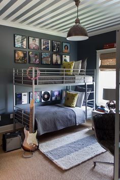 boy's room: walls (Farrow + Ball Down Pipe) // ceiling (stripes) // ceiling light (Visual Comfort) // Ikea bunk beds // album art // striped rug // natural shade
