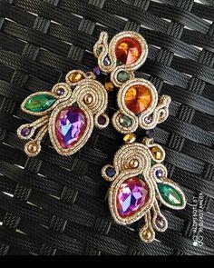 Soutache Earrings, Diy Earrings, Shibori, Handmade Jewelry, Brooch, Embroidery, Photo And Video, Jewelries, Instagram Posts
