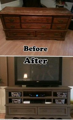 Repurposed dresser into a entertainment center #repurposedfurnituredresser
