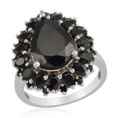 Liquidation Channel: Thai Black Spinel Ring in Platinum Overlay Sterling Silver (Nickel Free)
