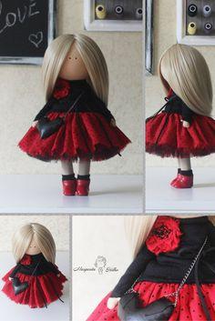 Love doll handmade doll blonde red black colors Rag doll Tilda doll Textile doll Interior doll Cloth Art doll by Master Margarita Hilko Strait Hair, New Dolls, Fabric Dolls, Doll Clothes, Textiles, Black Colors, Red Black, Waldorf Dolls, Handmade Dolls
