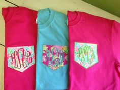 "LONG SLEEVE  Monogrammed Pocket Tee - Lilly Pulitzer Fabric Monogrammed Pocket T Shirt - Style 3 on Etsy, $28.95  ID LOVE THE LIGHT BLUE WITH ""U"" STYLE POCKET!!(:"