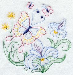 Vintage Embroidery Patterns Machine Embroidery Designs at Embroidery Library! Butterfly Embroidery, Paper Embroidery, Learn Embroidery, Embroidery For Beginners, Vintage Embroidery, Embroidery Applique, Cross Stitch Embroidery, Embroidery Sampler, Embroidery Ideas