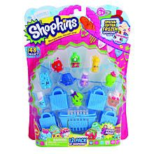 Shop away with the Shopkins™ 12 Pack! Collect all of the super-cute Shopkins™ characters and you might be lucky enough to find some rare characters too! Includes 12 Shopkins™, 1 shopping basket, 4 shopping bags and a collector's guide. Collect them all!