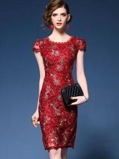 Womens Embroidery Lace Dress Slim Fit Bodycon Keen Length Wedding Dress in Clothing, Shoes & Accessories, Women's Clothing, Dresses Long Fall Dresses, Casual Dresses, Fashion Dresses, Slim Wedding Dresses, Wedding Lace, Cheap Dresses Online, Ladies Dress Design, Pull, Ideias Fashion