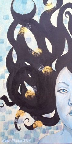 Withdrawn, 2014 Acrylic on wood 5.5 in x 11 in  $95.00 http://lisamariaartista.com/portfolio/withdrawn/ Monochromatic pale blue painting of a woman with black floating hair set against a pale blue background with colored squares. Metallic orbs float through her hair to add light to her withdrawn expression.