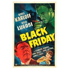 Black Friday Movie Poster - Boris Karloff, Bela Lugosi Vintage Classic Horror Film Print Size 18 x 24 inch by graficaitalia on Etsy