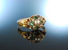 Birmingham 1897! Freundschafts Liebes Ring Gold 15 Kt Naturperlen Smaragde.  Antique Pearl and Emerald Ring Birmingham 1897!