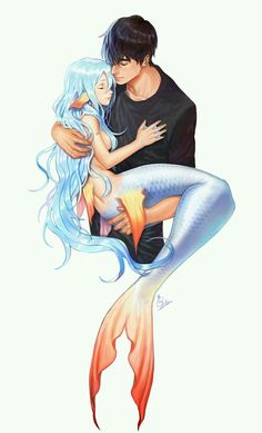 Imagem de mermaid, love, and boy