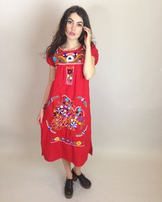 MEXICAN EMBROIDERED DRESS  #mexican #embroidery #ootd #vintage #ShesMyLilRocknRoll #hippie #boho