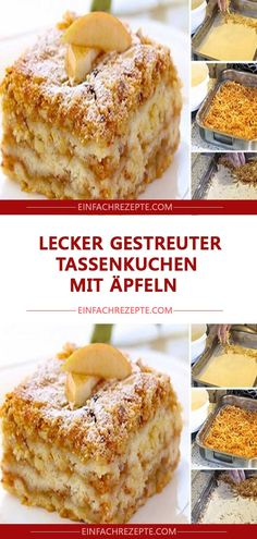 lecker Gestreuter Tassenkuchen mit Äpfeln Delicious strewn cup cake with apples Pie Recipes, Baking Recipes, Dessert Recipes, Strudel Recipes, Food Cakes, Cupcake Cakes, Cup Cakes, Quiche, Cheesecake