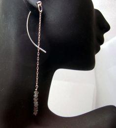 Swing Earrings sterling silver curved wire by waterleliejewellery,