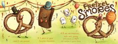 """les artistes de """"We love to illustrate"""" collaborent à un autre site (""""They Draw & Cook"""" : """"elles (ou """"ils"""", d'ailleurs...) dessinent et cuisinent"""") au concept intéressant : des recettes de cuisine illustrées !... comme ce """"Pretzel S'mores"""" proposé par Jennifer Bell... avant même de passer en cuisine, les illustrations sont déjà un régal pour les yeux !..."""