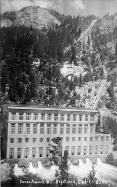 Located at an elevation of 4,819 feet at the town of Big Creek, California, being the first power house on the Big Creek Project to be placed in commercial operation. Has provided electricity to Southern California since November 1913. Generators powered by water flowing down from Huntington Lake. Big Creek, Calif.