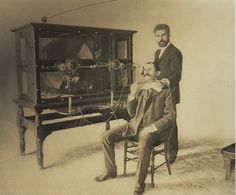 ca. 1890, electro-therapy treatment for throat disease