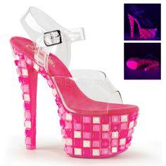 Pleaser SKY-308UVTL Neon Platform Sandals