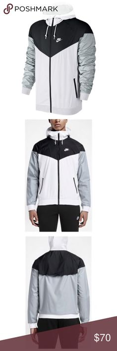 Nike Windrunner Jacket- Men's Lightweight ripstop fabric provides durability. Paneled hood with a bill and drawcords provide warmth and coverage. Chevron design. Zippered pockets. 100% Polyester. Brand new without tags. Size medium. Nike Jackets & Coats Windbreakers