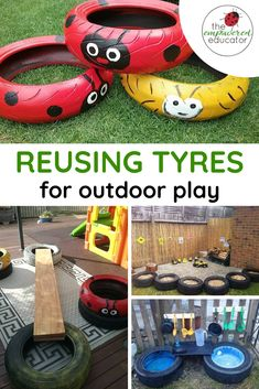 Easy Ideas for reusing tyres in outdoor play areas and backyards. A great way to recycle / upcycle tryes or tires for outdoor learning opportunties and outdoor play areas. Outdoor Learning Spaces, Outdoor Play Areas, Eyfs Outdoor Area Ideas, Outdoor Play For Toddlers, Backyard Play Areas, Kids Outdoor Play Equipment, Play Area Garden, Play Yard, Backyard Games